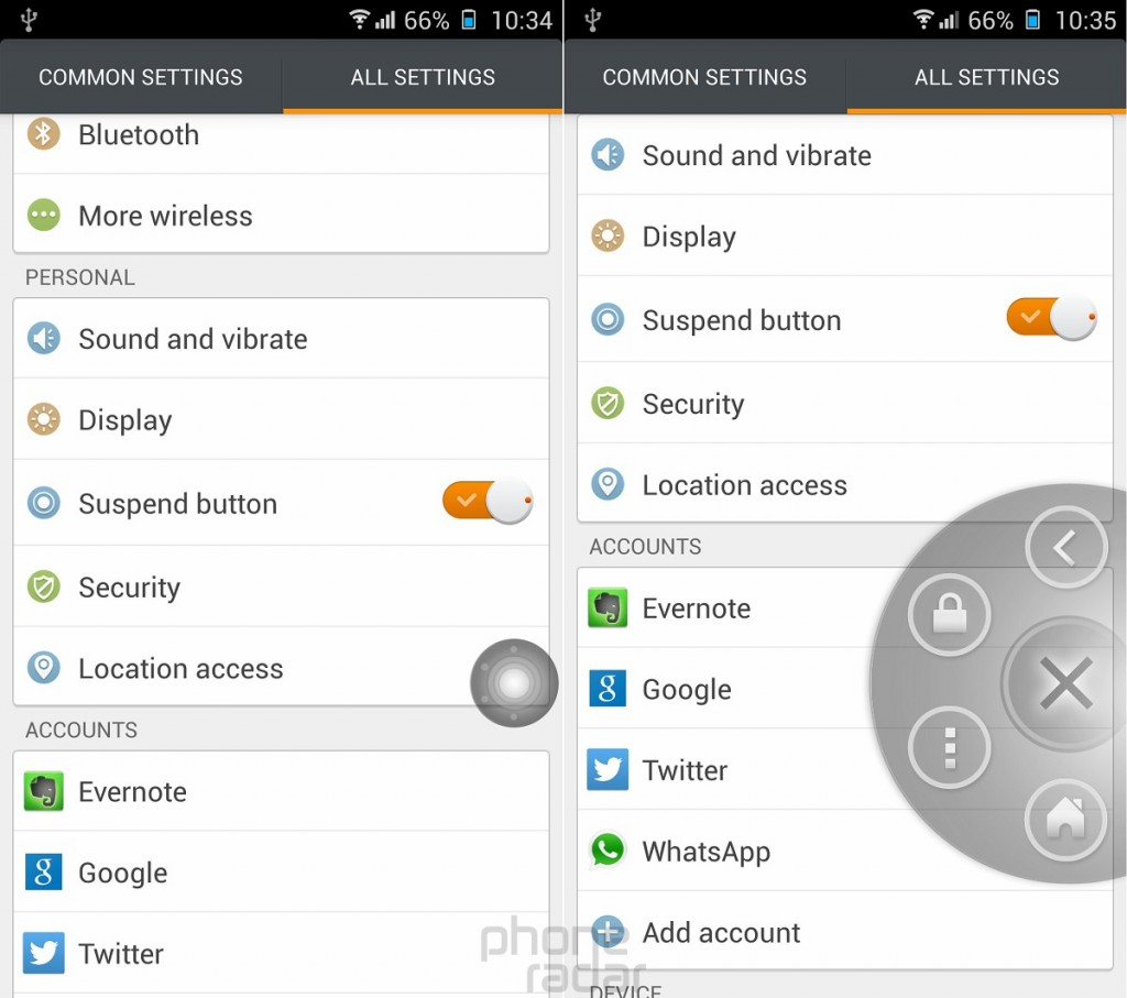 Gionee Elife E7 Suspend Button