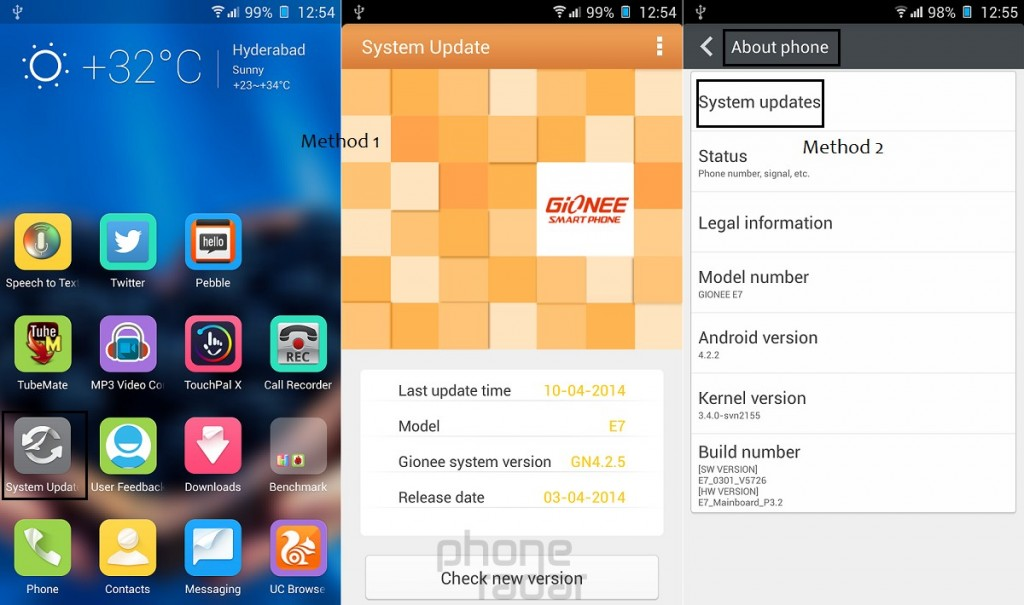 Gionee Elife E7 System Update
