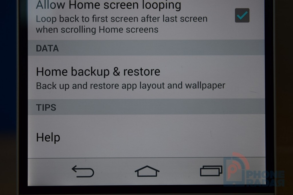 LG G3 Tip Backup Home Screen