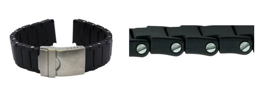 Replacement Black Polyurethane Link Bracelet Band 22mm