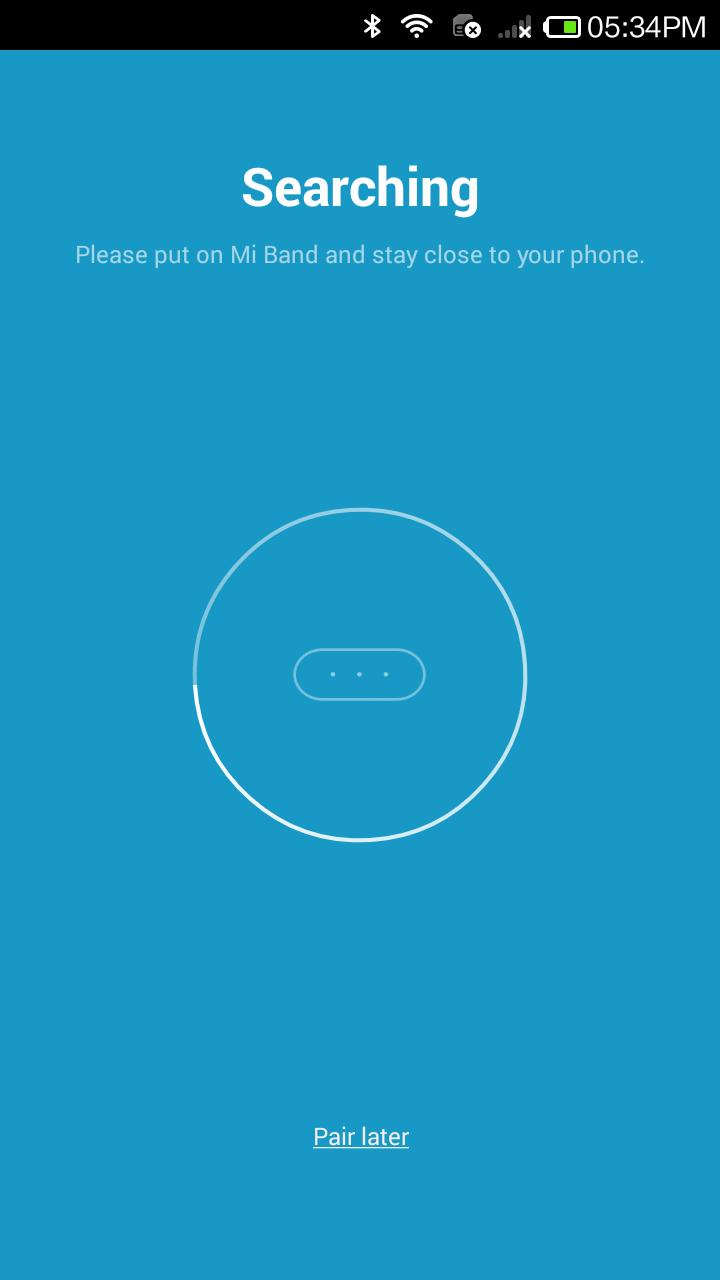Mi Band App -  Searching Device