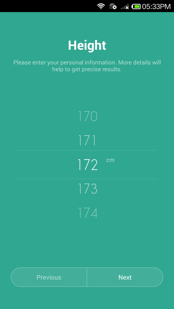 Mi Band App -  Select Height