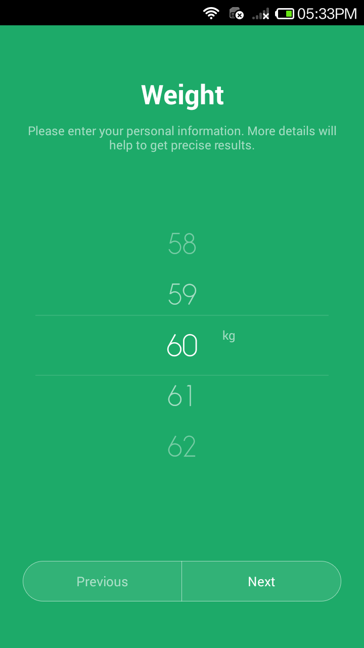 Mi Band App -  Select Weight