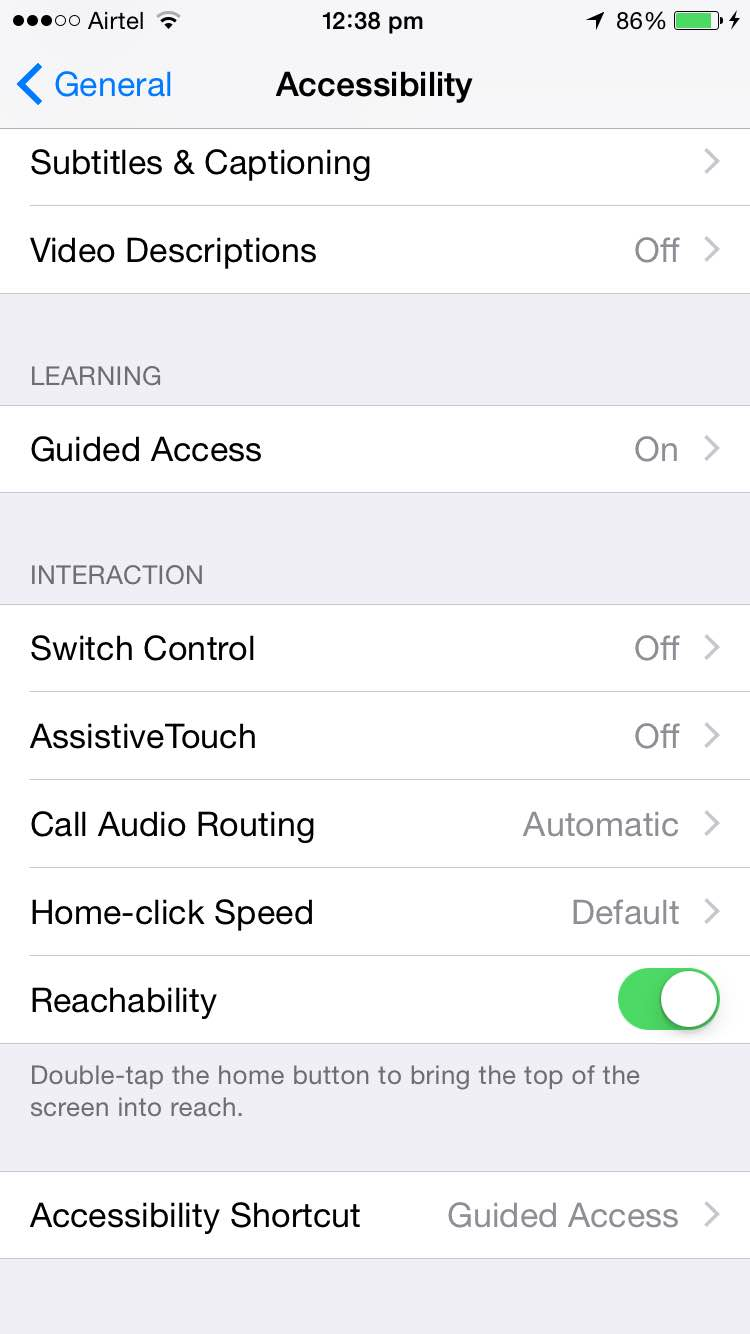 Settings - Accessibility
