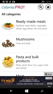 Calories Pro app for Windows Phone