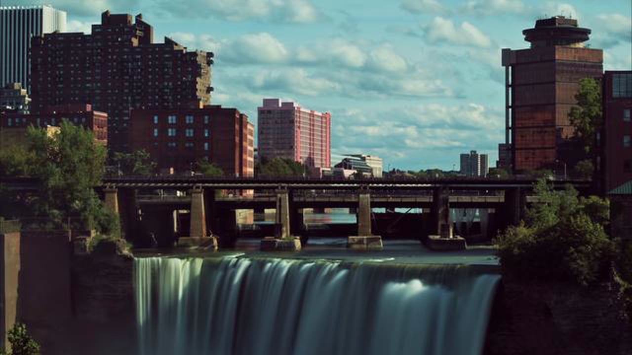 High-Falls-in-Rochester-NY-time-lapse-Royalty-Free-Stock-Footage