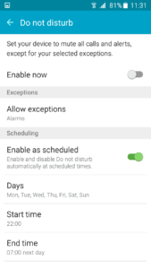 Samsung Galaxy On5 - Schedule DND