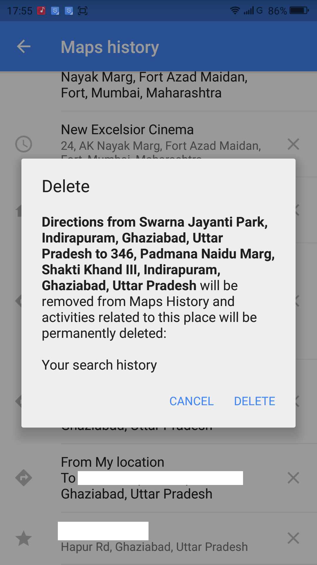 how to search history on android phone