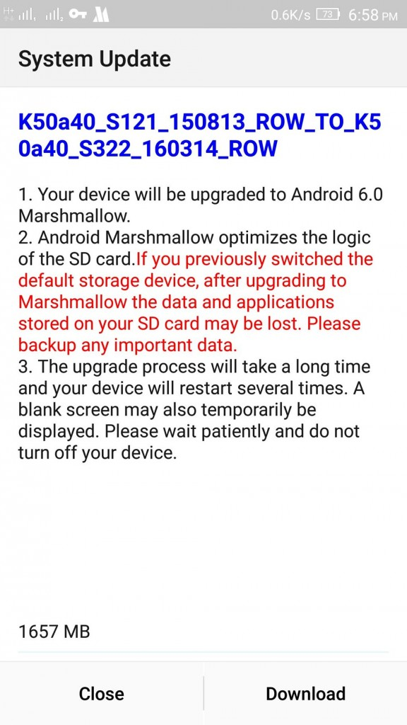 Lenovo K3 Note Marshmallow