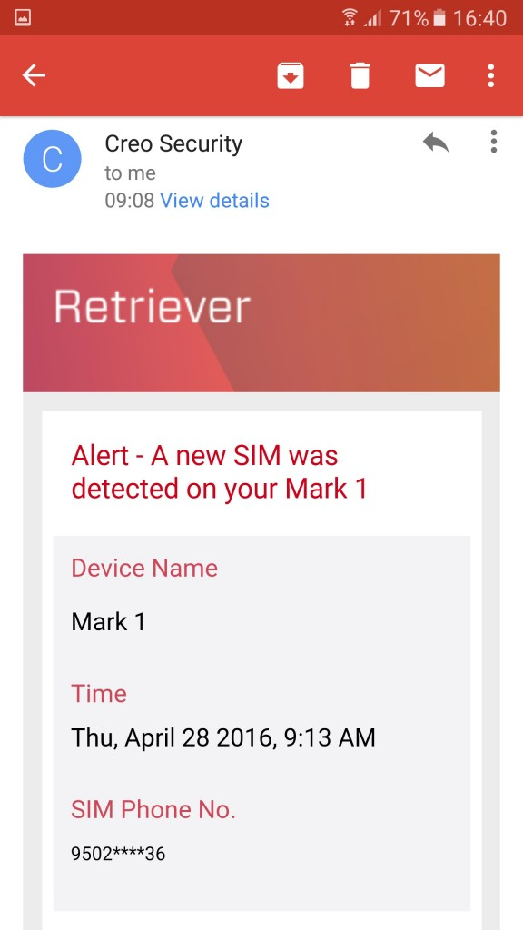 Emails from CREO - Not MY SIM Number