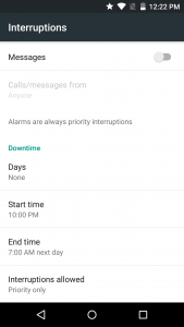 Android Interruptions Settings